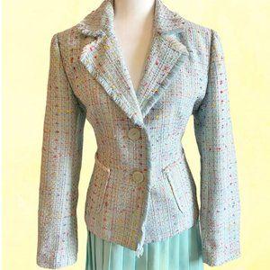 Vintage 90's Pastel tweed fringe hem blazer